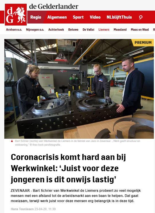 Artikel Gelderlander over Werkwinkel De Liemers
